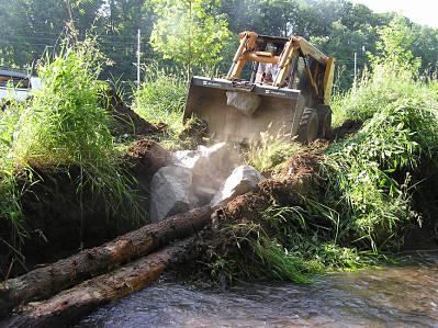 Setting Rock on Log Vane